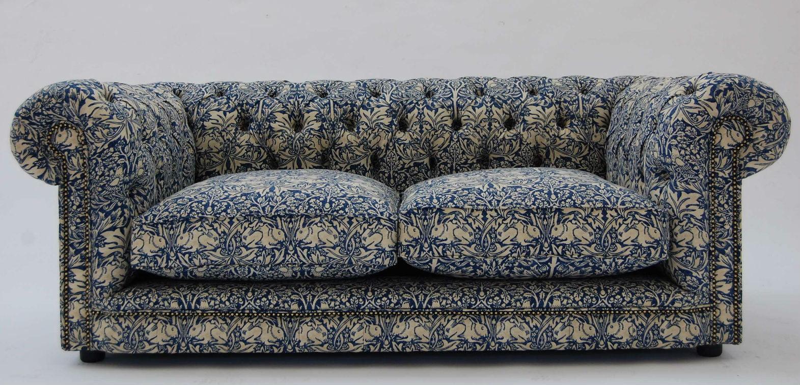 Linen chesterfield sofa