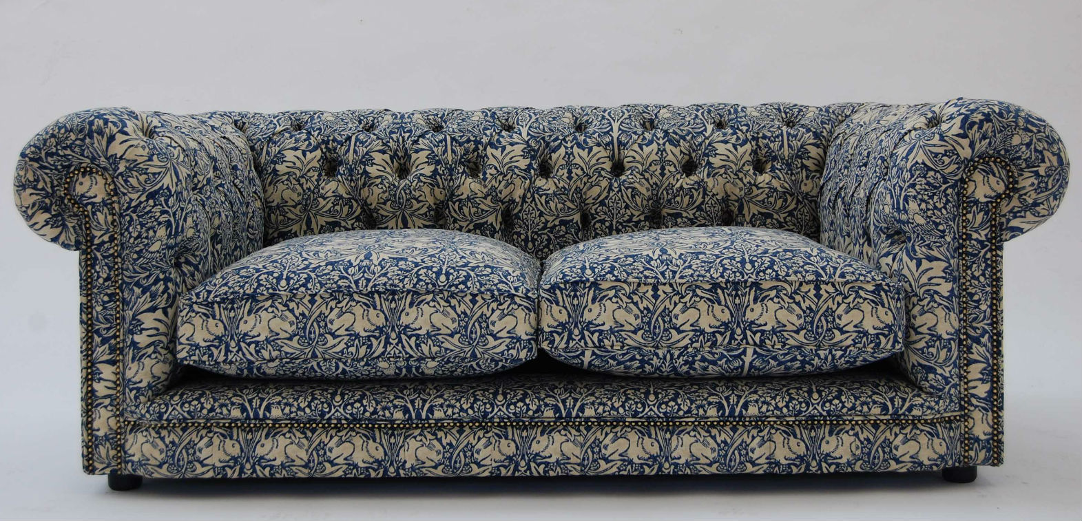 Linen chesterfield sofa